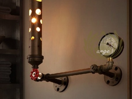 Vintage demir su borusu sanat loft tasarım iskandinav aplik duvar aydınlatma aplik cafe bar Arg-917149